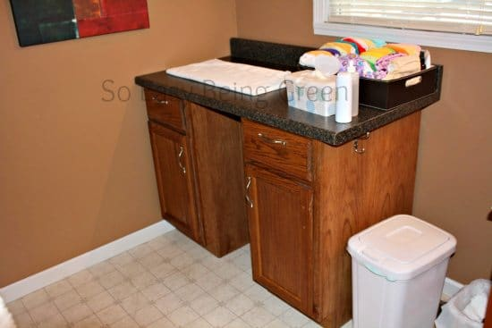 Changing Table organization ideas with cloth diapers