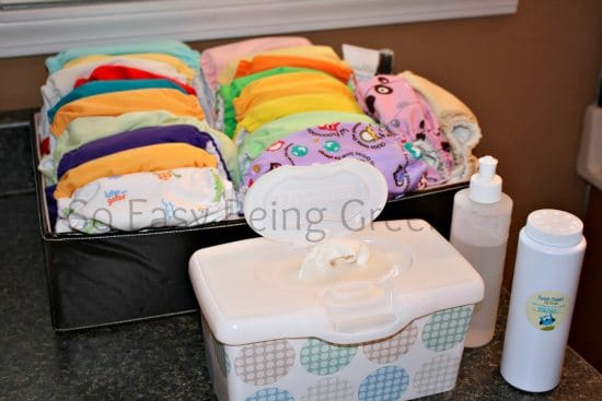 Cloth Diaper organization on the changing table