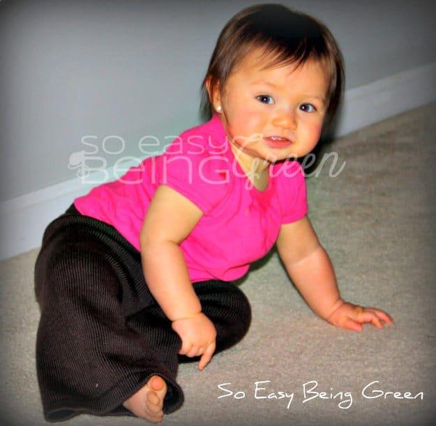 baby wearing sustainablebabyish wool pants in brown