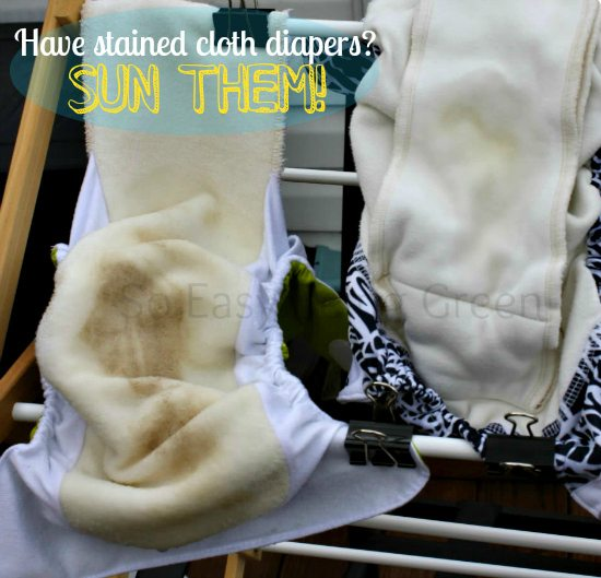 cloth diaper with stains on drying rack outside
