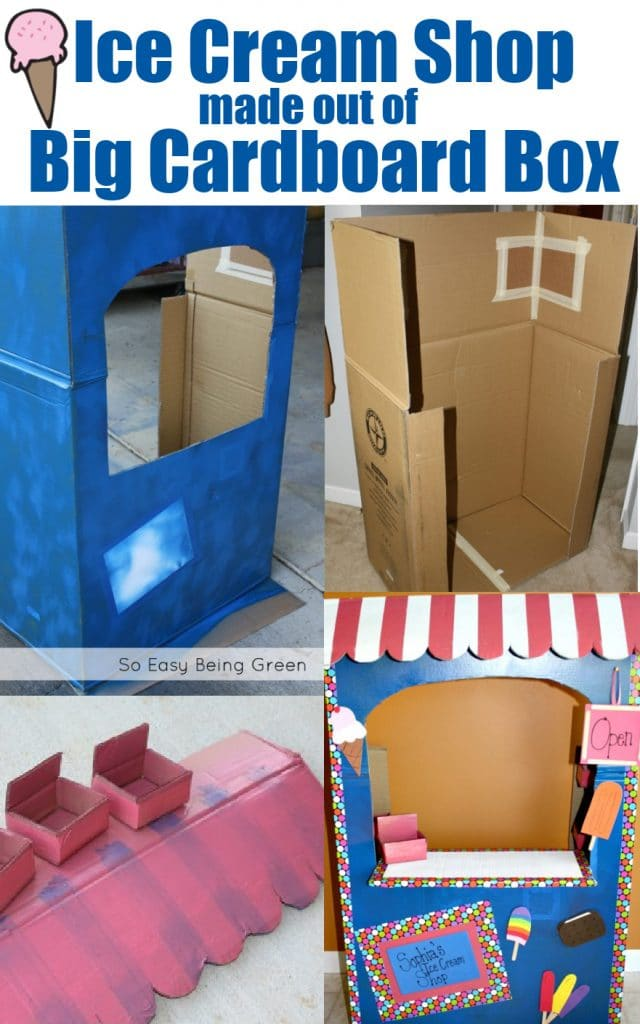 collage showing how to make a diy cardboard playhouse out of a big cardboard box