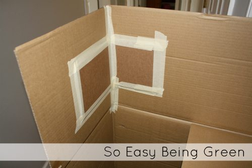 cardboard box opened with tape