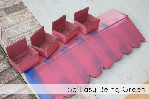 spray painting with pink paint