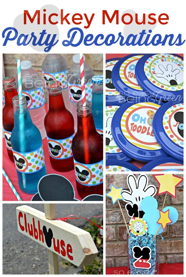 collage of Mickey Mouse Birthday Party Decorations photos