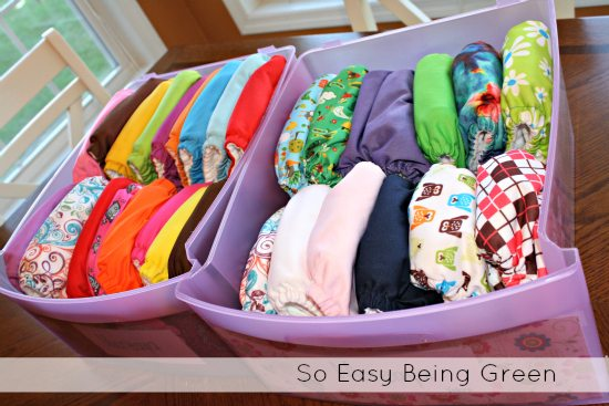 Storing Cloth Diapers in drawers makes them easy to grab.