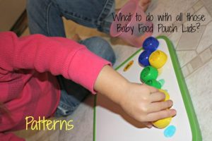 Toddler Activities using Baby Food Pouch Lids