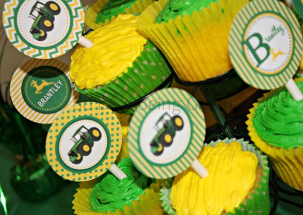 John Deere Cupcakes - An easy way to stay on budget when throwing a party is to stick with a color theme.