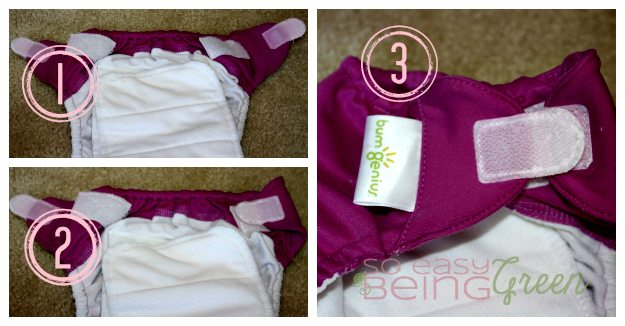 Fold over Laundry Tabs on cloth diapers with aplix
