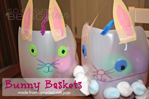 Upcycled easter baskets made from milk jugs bunny easter baskets negle Image collections