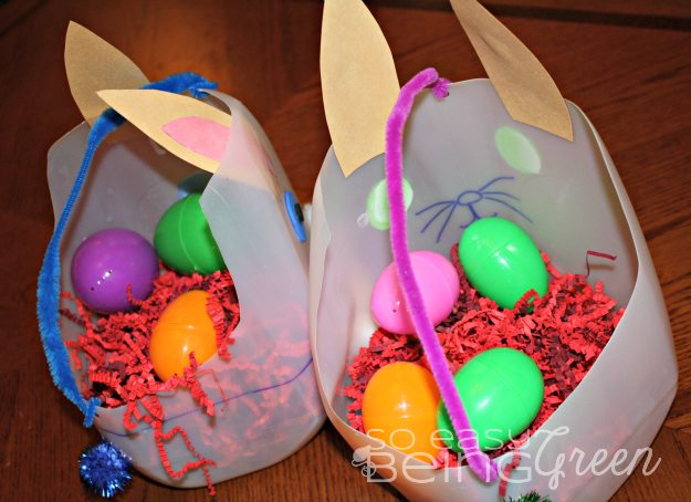 easter baskets upcycled from milk jugs