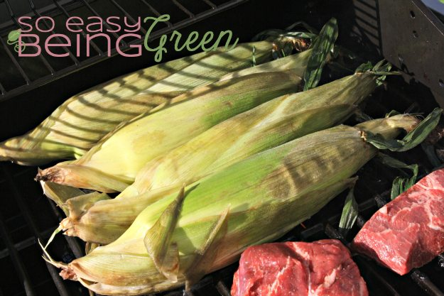 grill corn in husk right beside other foods