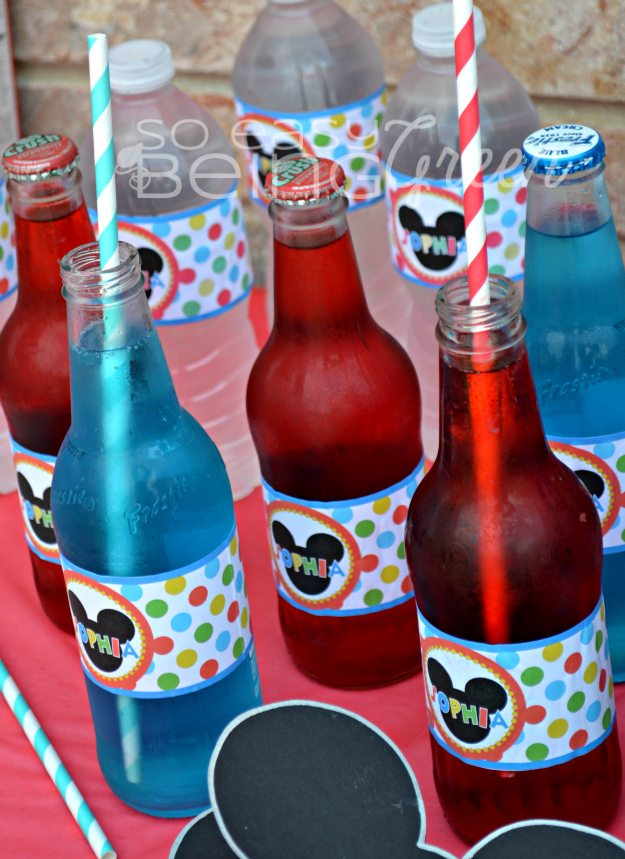 Mickey Mouse Party bottled drinks with decorative paper straws