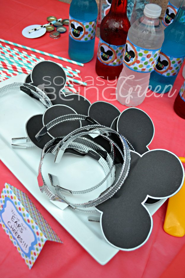 Mickey Mouse Ears Headbands DIY and party decor table