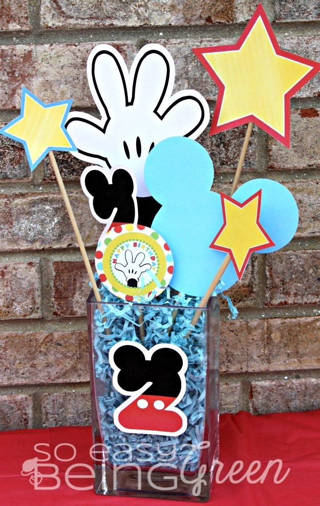 Mickey Mouse birthday printables Centerpiece for party table