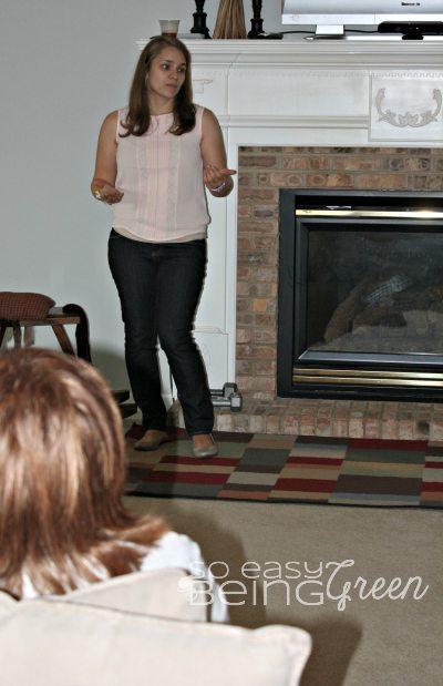 Woman teaching self defense ideas in Damsel in Defense Party