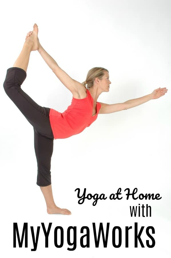 Woman doing yoga at home with My Yoga Works