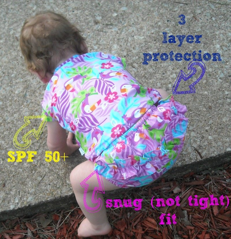 baby wearing iplay swim diaper with 3 layers of protection