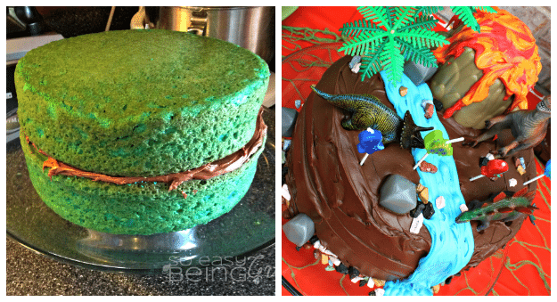Dinosaur Party Birthday Cake Collage