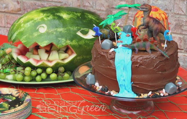Dinosaur Party Cake and Fruit