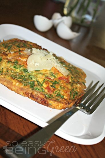 Tomato, Spinach, and Pancetta Air Fryer Frittata