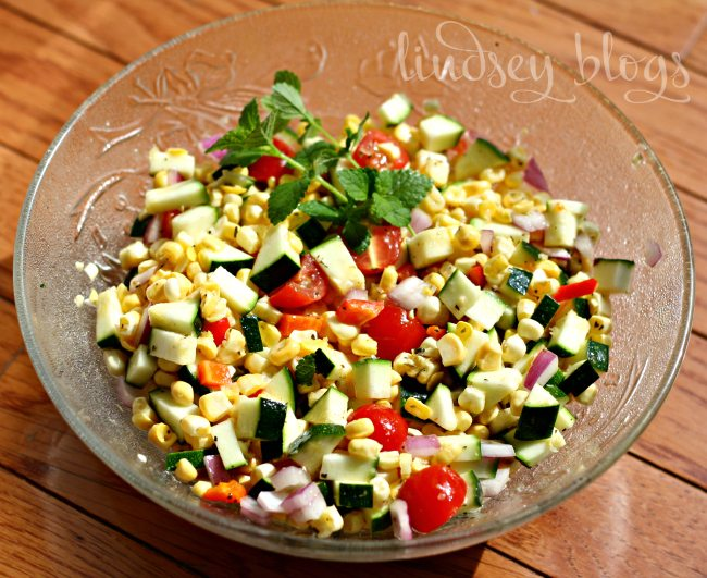 Zucchini Corn Salad Fwith tomatoes and herbs