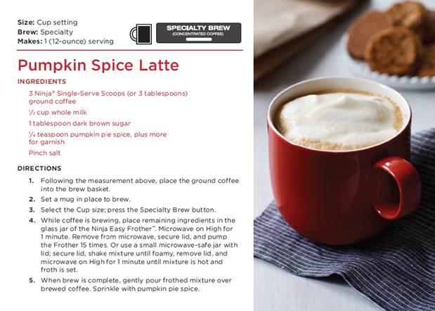 Pumpkin Spice Latte - Ninja Coffee Bar Recipes