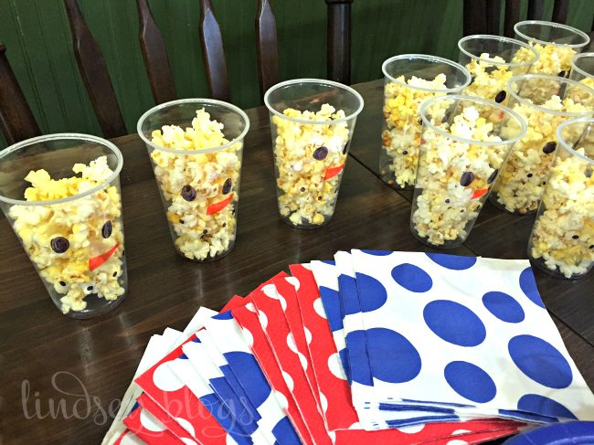 Snowman Party Food Popcorn Cups