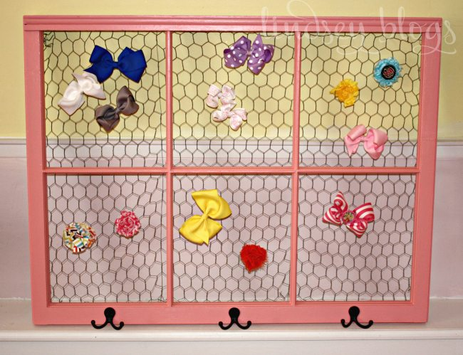 Painted vintage window with chicken wire makes a perfect DIY hair bow holder