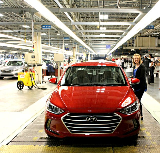 Driving Elantra Eco off Assembly Line