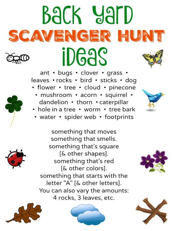 Back Yard Scavenger Hunt Ideas