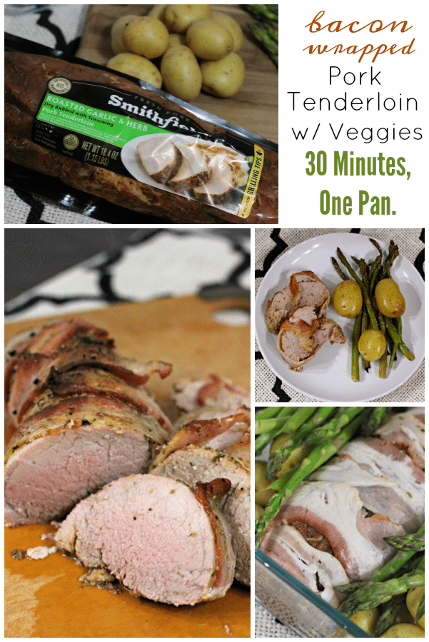 bacon wrapped pork tenderloin with vegetables in one pan meal