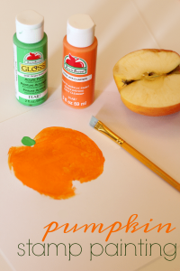 Pumpkin Paintings with DIY Apple Stamps