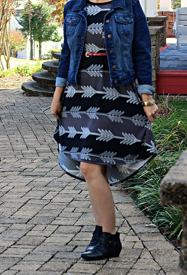 LuLaRoe Carly with Denim Jacket and Booties