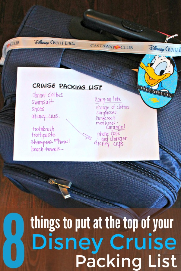 Cruise Packing List for Disney Cruise on top of luggage