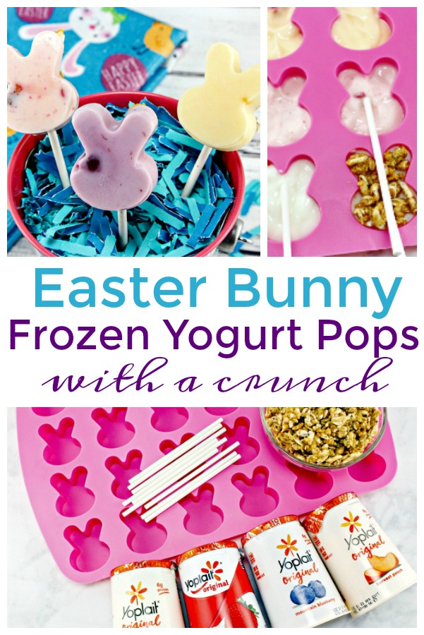 Frozen Yogurt Popsicles in Easter bunny shapes