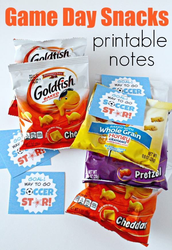Game Day Snacks with printable notes