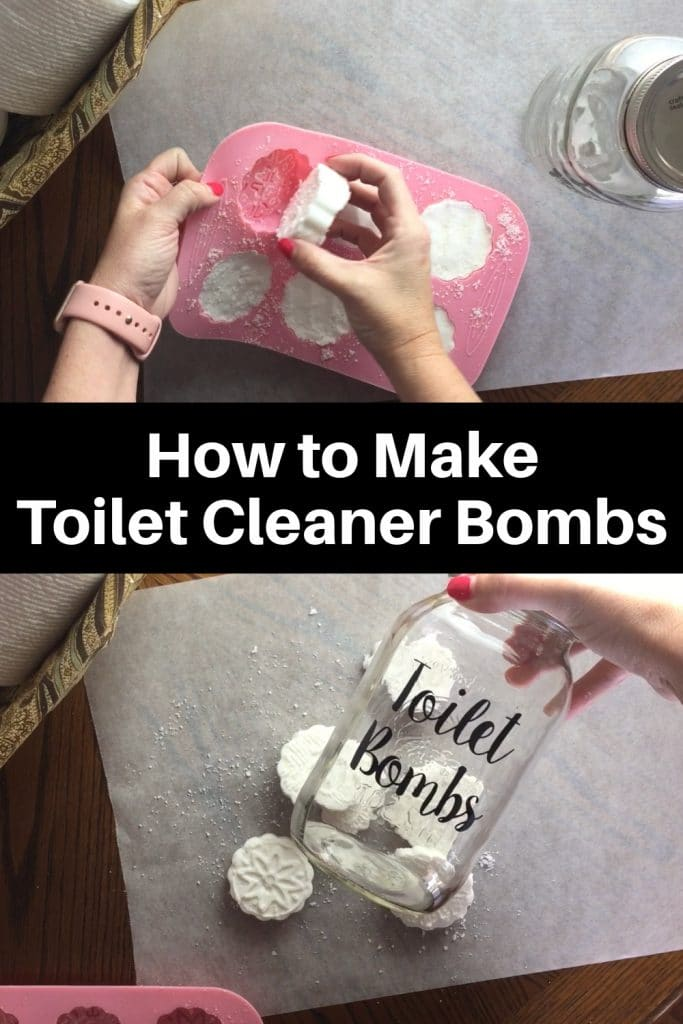 hand taking toilet cleaner bombs out of pink silicone mold and putting into glass jar