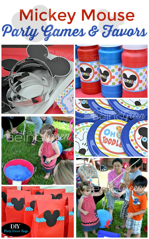photo collage of mickey mouse party games and party favors