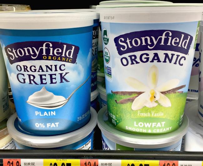 Stonyfield Organic yogurt choices at Walmart