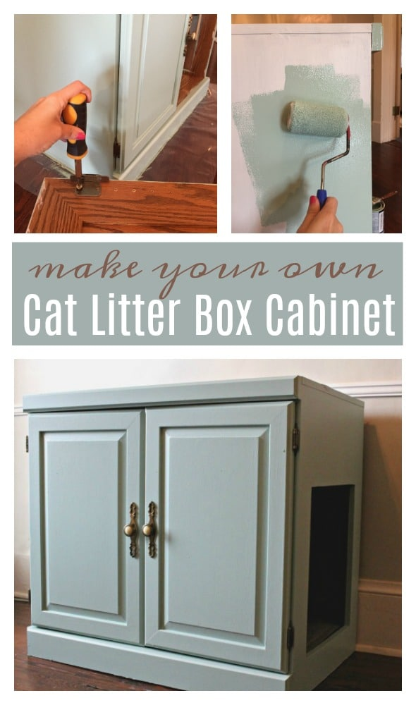 Tutorial To Make A DIY Cat Litter Box Cabinet