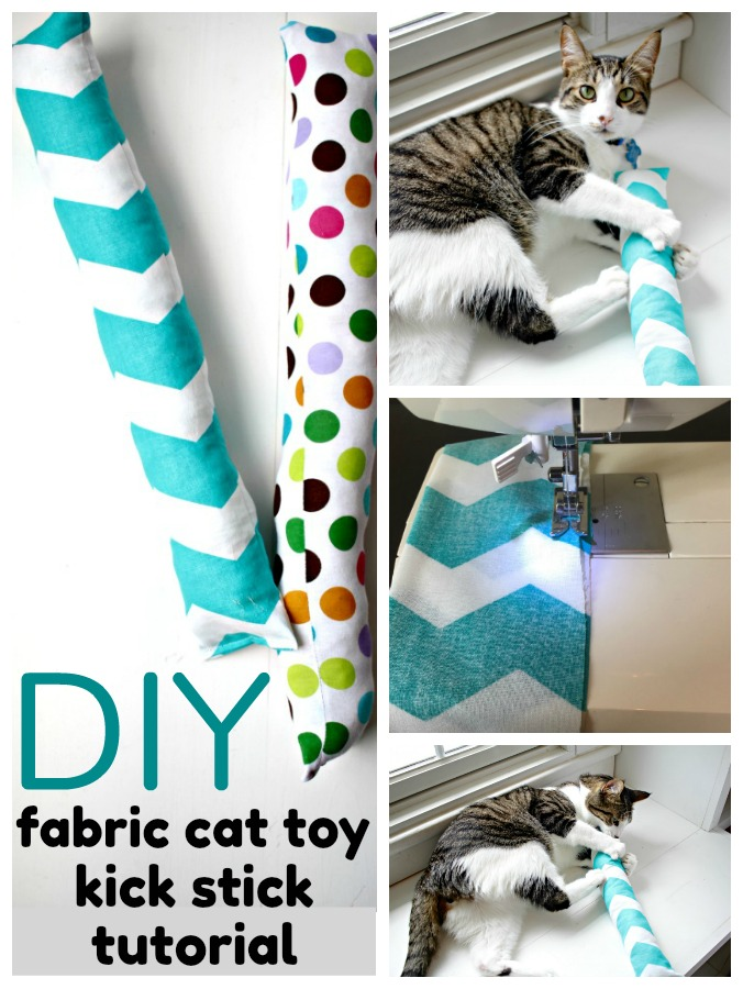 collage of diy cat kicker toy