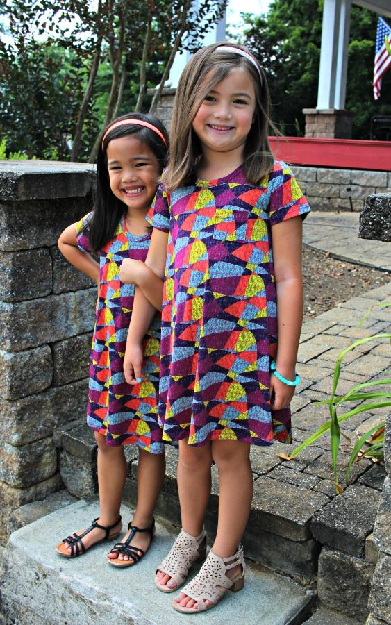 Sisters wearing LuLaRoe Scarlett - Dress for Kids