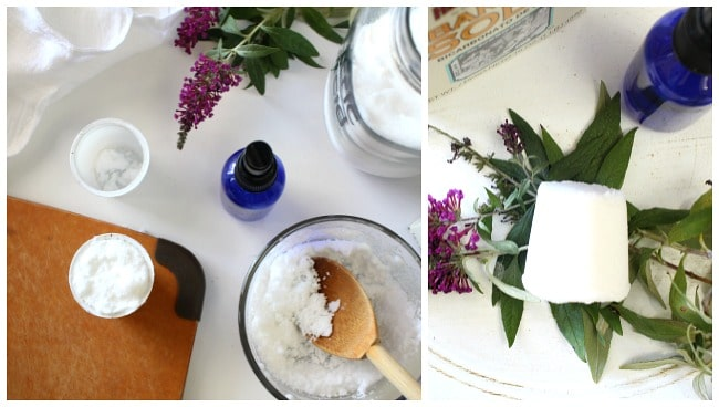 spoon in bowl making toilet cleaners with flowers and glass jar