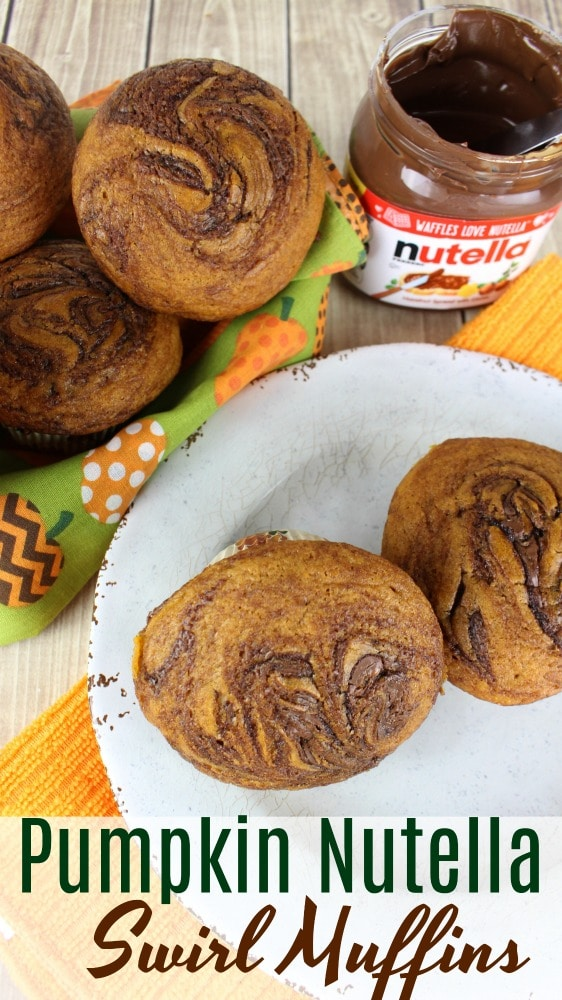 chocolate pumpkin muffins with nutella jar on white plate