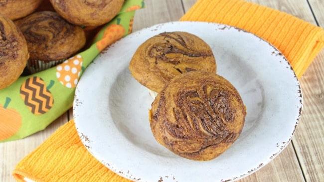 Pumpkin Muffins with Nutella Swirl