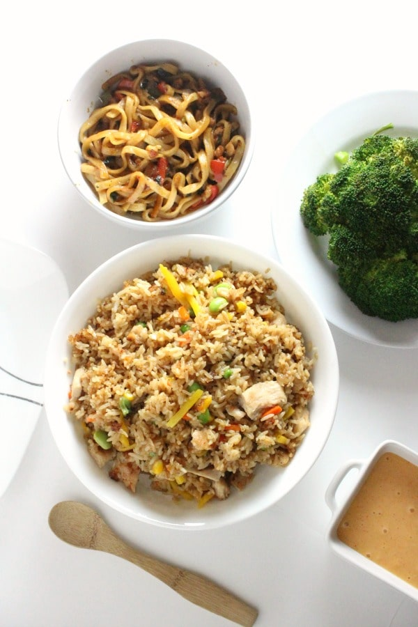 Fried rice with chicken noodles and instant pot broccoli