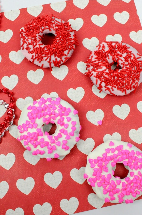 Valentines Treats for classroom party - donuts with sprinkles