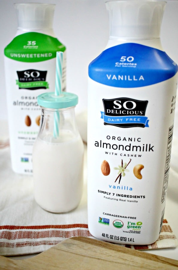 So Delicious almond milk in glass milk jar