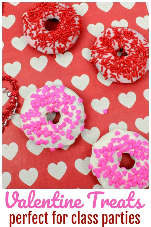 Valentine Treats for Class Parties - Baked Donuts with Sprinkles