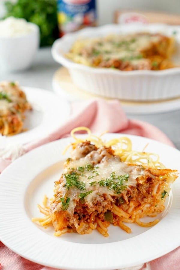 Spaghetti pie on a white plate
